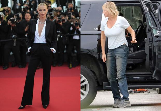 Charlize Theron em Cannes, em maio, e em set de 'Tully', em setembro (Foto: Neilson Barnard/Getty Images e Grosby Group)