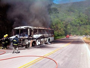 Bombeiros apagam fogo em ônibus com torcedores do Inter (Foto: Capitão Fernando Maciel/Divulgação BOE)