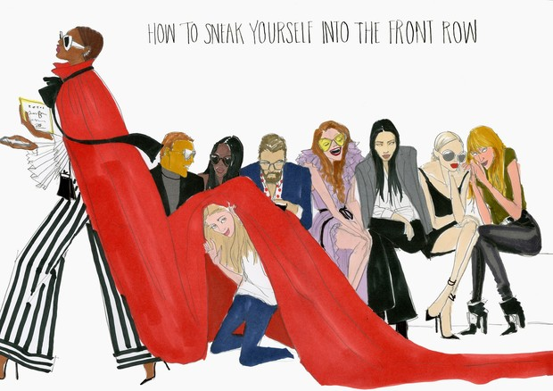 """""""Como se enfiar na primeira fila de um desfile"""" (Foto: Ilustração Julie Houts/Divulgação)"""