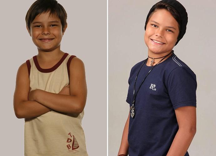 Frederico Volkmann com 7 anos e atualmente com 12 (Foto: Globo e Rodrigo Soares/Divulgação))