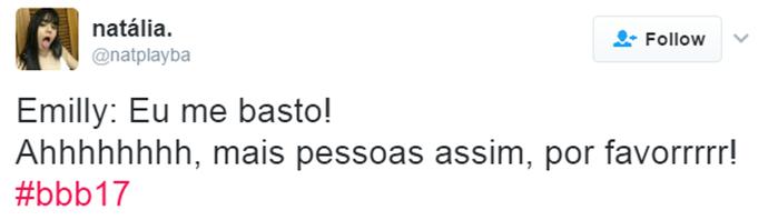 Tweet Emilly toco em Marcos (Foto: Reprodução da Internet )
