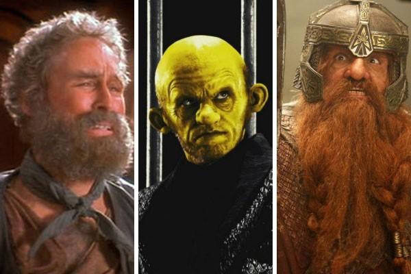Tranformação radical: Glenn Close como Gutless, Nick Stahl como Assassino Amarelo e John Rhys-Davies como Gimli (Foto: Reprodução/Getty Images)