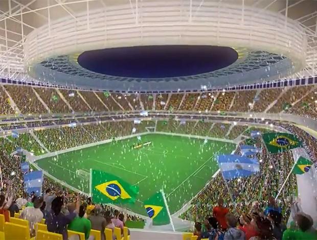 Maquete virtual do Estádio Nacional Mané Garrincha, em Brasília (Foto: Reprodução)