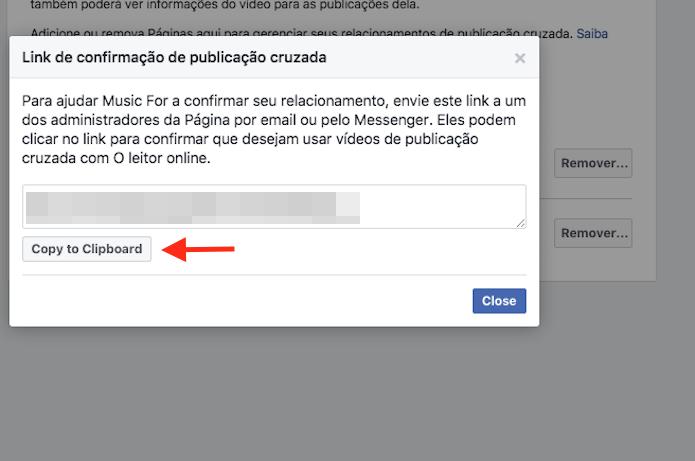 Opção para copiar o link com convite para publicações cruzadas entre páginas do Facebook para a área de transferência do computador (Foto: Reprodução/Marvin Costa)