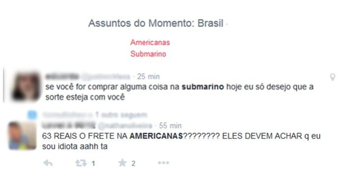 Submarino e Americanas.com entraram para os trends do Twitter (Foto: Reprodução/Carol Danelli)