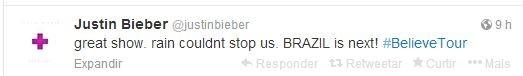 Justin  Bieber posta no twitter (Foto: Henrique Oliveira / FotoRioNews)
