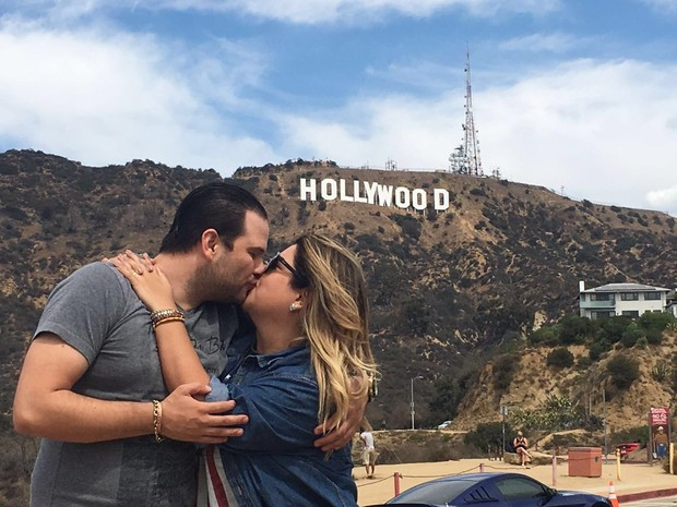 Fabiana Karla e o namorado, Bruno Muniz, em Hollywood (Foto: Arquivo Pessoal)