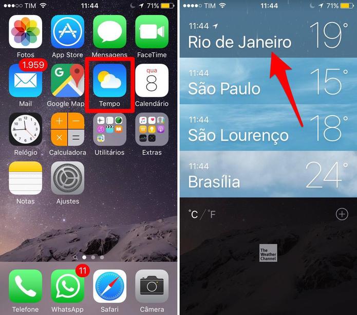 Abra o app Tempo no iPhone (Foto: Reprodução/Lucas Mendes)