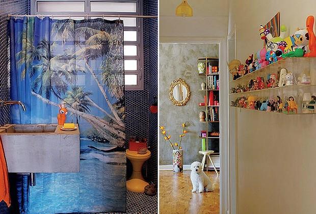"""O visual """"paradisíaco"""" do banheiro social é dado pela cortina do boxe, da Tok & Stok, e pelas pastilhas hexagonais que revestem o ambiente. Comprado na Recesa, o lote estava fora de linha e custou R$ 10 o m² (Foto: Casa e Jardim)"""