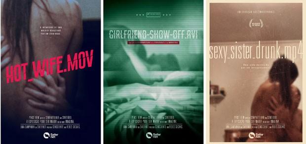 Pôsteres de filmes fictícios alertam sobre divulgação de vídeos íntimos (Foto: Divulgação)