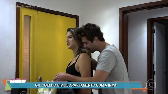 Gil Coelho aproveita folga com o sobrinho, estuda, faz dublagem e malha