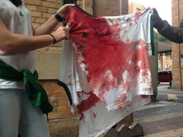 Torcedor do Palmeiras foi atingido por golpe de barra de ferro na cabeça e está internado na Santa Casa de SP (Foto: Vivian Reis/G1)