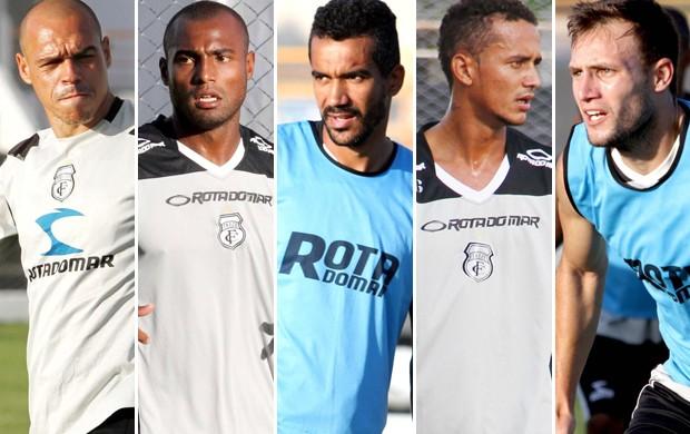 Éder, Pitty, Marco Tiago, Sapé e Escobar, jogadores do Treze (Foto: Montagem / Globoesporte.com/pb)