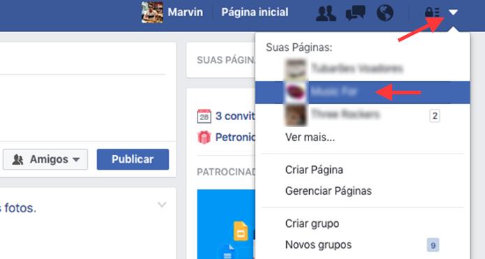 Caminho para acessar uma página do Facebook como administrador (Foto: Reprodução/Marvin Costa)