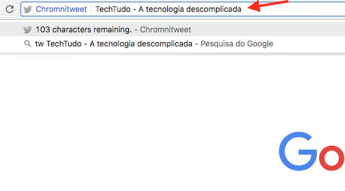 Publicando um tuíte através da barra de endereços do Google Chrome (Foto: Reprodução/Marvin Costa)