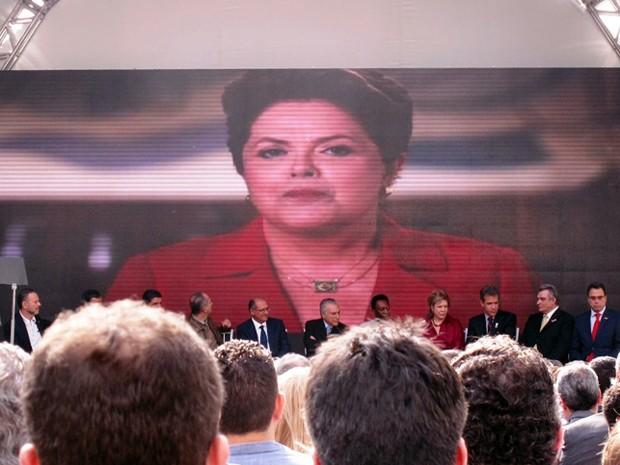 Presidente Dilma Rousseff gravou uma mensagem para Pelé em vídeo (Foto: Lincoln Chaves/G1)