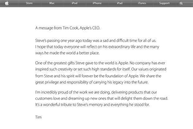 Carta de Tim Cook em homenagem a Jobs foi publicada no site da Apple (Foto: Reprodução)
