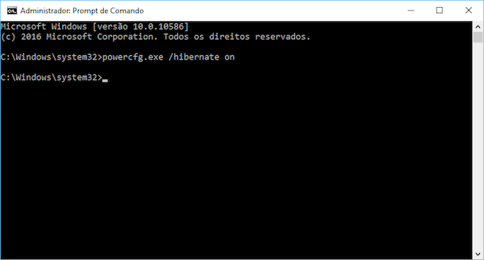 Reativando a hibernação no Windows 10 (Foto: Reprodução/Helito Bijora)