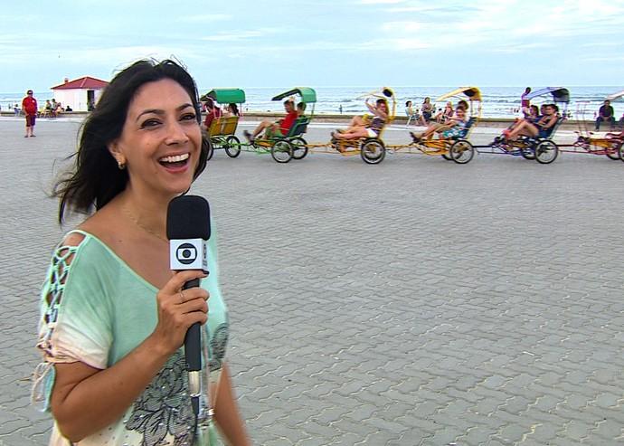 Cris Silva mostra como os veranistas de Capão da Canoa aproveitam o verão (Foto: Reprodução/RBS TV)