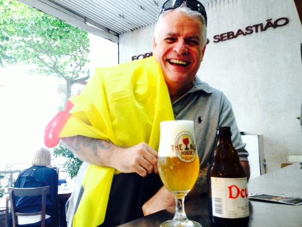 Xavier Depuydt, cervejeiro belga, em seu bar em Ipanema (Foto: Cristiane Cardoso/G1)