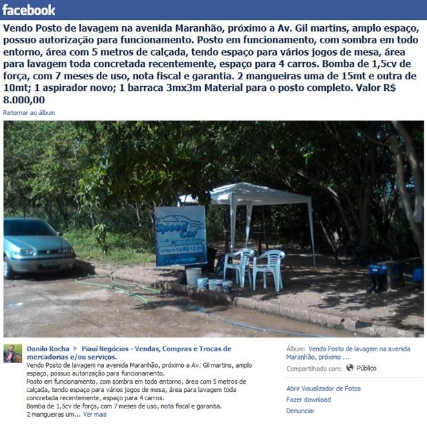 Área pública é posta a venda no facebook (Foto: Reprodução/Facebook)