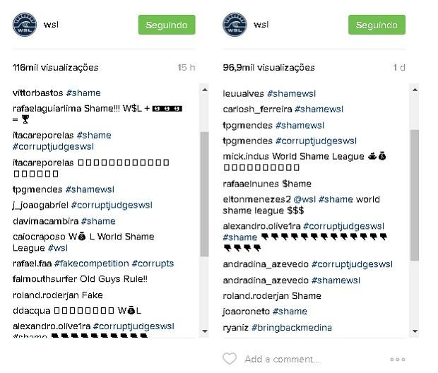 Internautas protestam nas redes sociais da WSL aps arbitragem polmica na bateria de Gabriel Medina (Foto: Reproduo/Instagram)