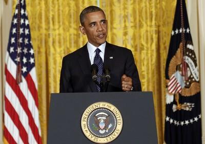 Presidente dos EUA, Barack Obama, discursa sobre escândalo envolvendo a agência IRS, que cuida da cobrança de impostos. Agência agiu com mais rigor com grupos conservadores do que com grupos liberais (Foto: Pablo Martinez Monsivais/AP)