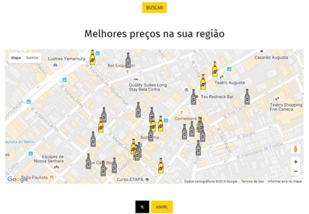 Bares com preços cadastrados têm ícones em forma de garrafas amarelas (Foto: Reprodução)