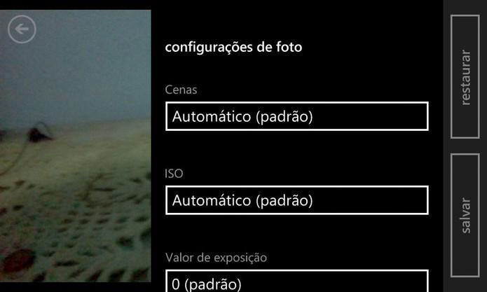 Windows Phone 8 traz configurações avançadas na barra lateral do aplicativo de câmera (Foto: Reprodução/Elson de Souza)