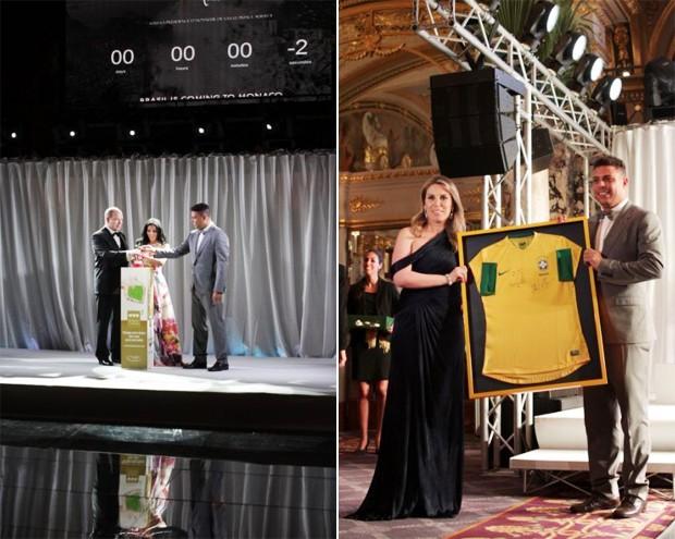 Prince Albert II, Luciana de Montigny(Presidente e Fundadora, Brasil Monaco Project), Ronaldo e Sra. SIAG, uma camisa de futebol da seleção brasileira oferecida por Ronaldo (Foto: Marie-Laure Briane)
