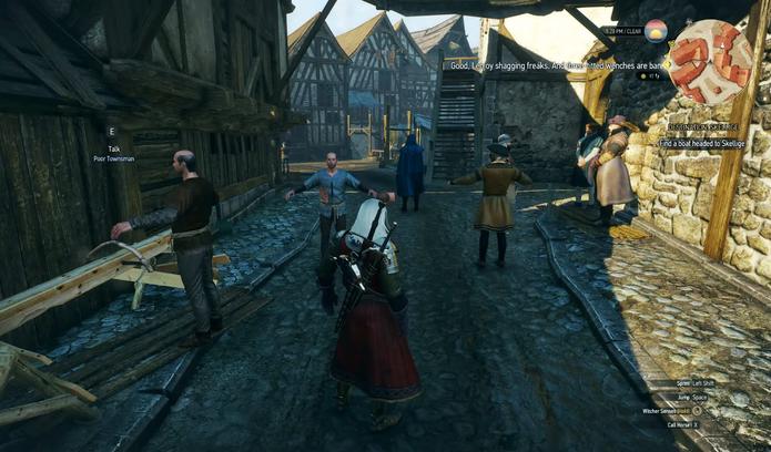 Pessoas flutuam no bug de The Witcher 3 (Foto: Reprodução/YouTube)