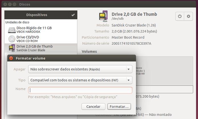 Formatando um pen drive de forma segura no Ubuntu (Foto: Reprodução/Edivaldo Brito)