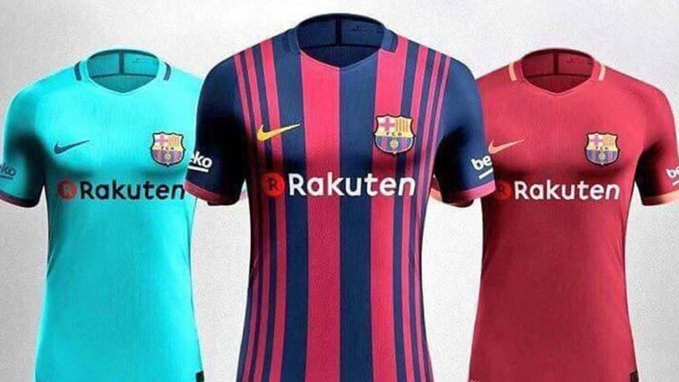 Barcelona novos uniformes (Foto: Reprodução/Sport)