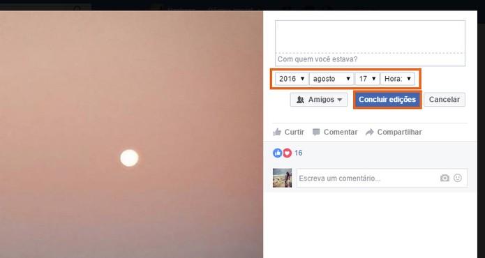 Altere a data da foto do Facebook (Foto: Reprodução/Barbara Mannara)