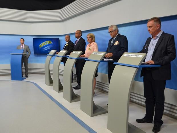 Debate candidatos à Prefeitura de Poços de Caldas com transmissão do G1 (Foto: Lúcia Ribeiro / G1)