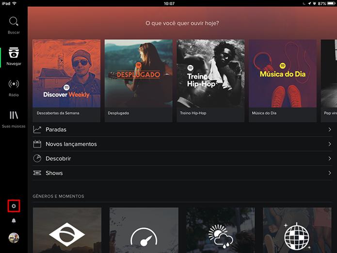 Spotify pode ter sessão privada ativada no tablet a partir da tela inicial (Foto: Reprodução/Elson de Souza)