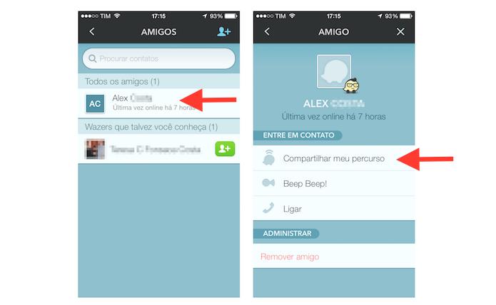 Escolhendo um contato do Waze para compartilhar seu percurso (Foto: Reprodução/Marvin Costa)