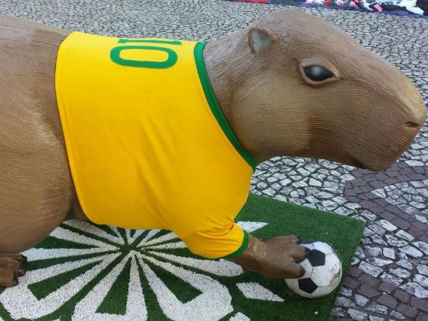 Rei Pelé autografará uma camiseta verde amarela que veste uma das esculturas (Foto: Alana Fonseca/G1)