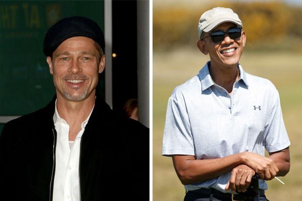 Os primos de nono grau Brad Pitt e Barack Obama (Foto: Getty Images)