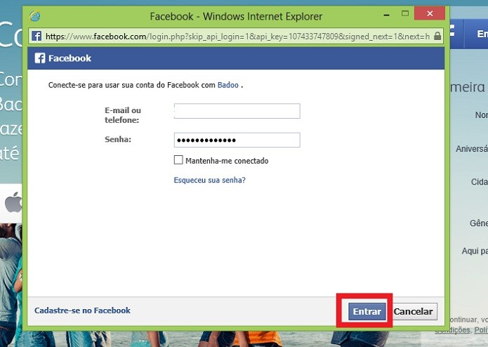 Insira seus dados do Facebook (Reprodução/Taysa Coelho)