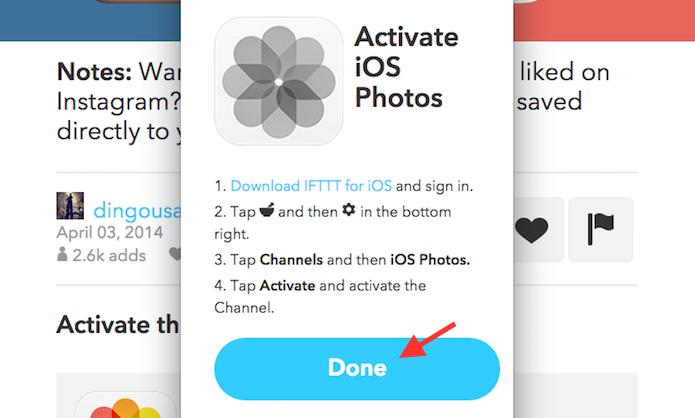 Finalizando a configuração do canal da biblioteca de fotos do iOS no IFTTT pelo computador (Foto: Reprodução/Marvin Costa)