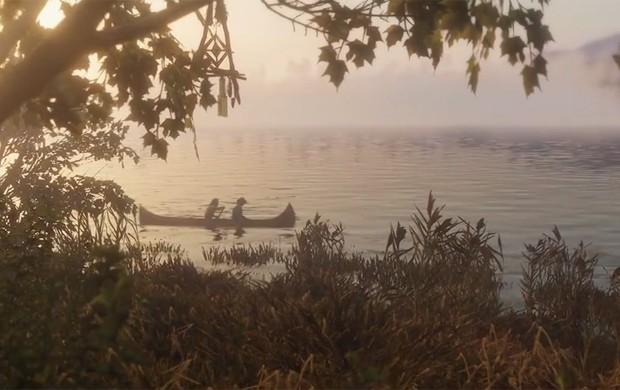 Homens passeiam de barco em trailer de 'Red Dead Redemption 2' (Foto: Reprodução/YouTube/Rockstar Games)