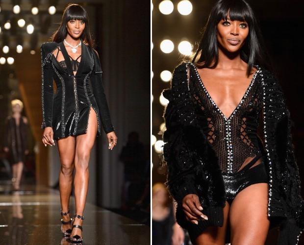 Os dois looks de Naomi Campbell na passarela da Atelier Versace (Foto: Getty Images)