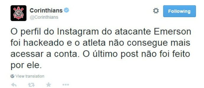 Twitter Corinthians Emerson Sheik (Foto: Reprodução)