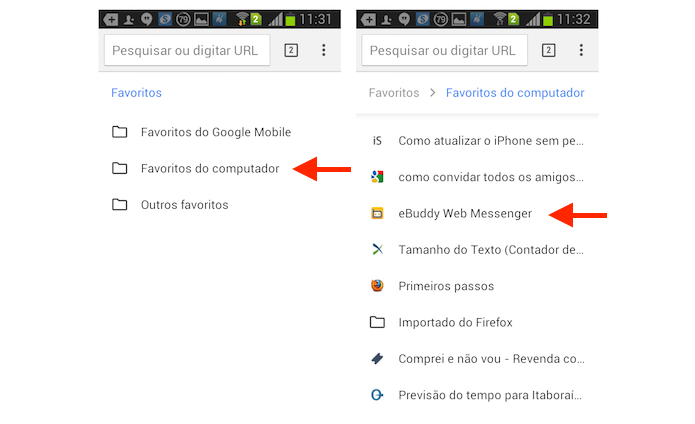 Acessando sites favoritos da versão do Chrome para computador no Android (Foto: Reprodução/Marvin Costa)
