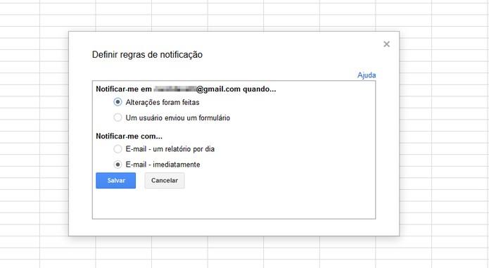 Habilite as notificações para receber alertas de alterações em suas tabelas do Google Docs (Foto: Reprodução/Carol Danelli)