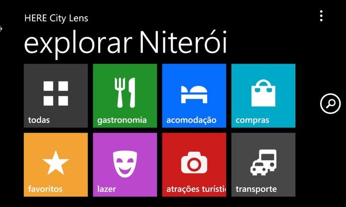 Here City Lens, da Nokia, exibe diversos tipos de estabelecimentos diretamente na câmera do Windows Phone 8 (Foto: Reprodução/Elson de Souza)