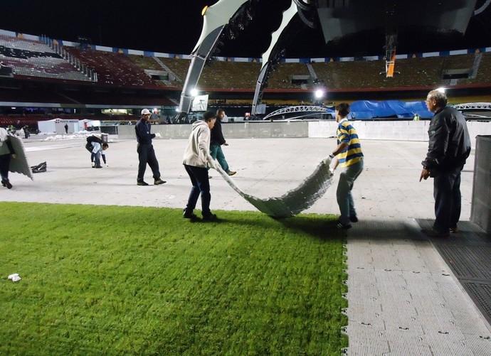 Mesmo material foi utilizado para cobrir o estádio do Morumbi (Foto: Divulgação)
