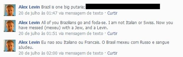 Insultos contra o Brasil e os brasileiros na rede social de Levin (Foto: Reprodução/Facebook)