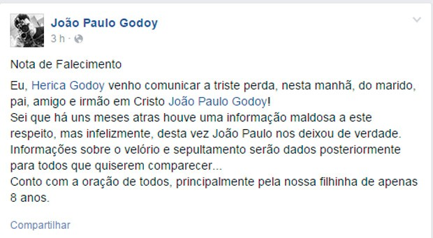 Post da viúva de João Godoy (Foto: Reprodução/ Facebook)